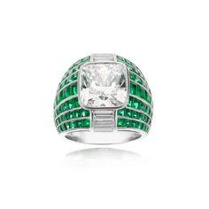 Platinum, Diamond and Calibrated Emeralds Ring | William Noble
