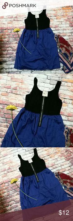 Pink Rose Blue & Black Casual Dress Super soft black tshirt dress with zipper.   Marked as a Medium.  I believe it's a Junior's size Medium rather than a Ladies Medium. Pink Rose Dresses Midi