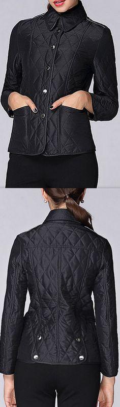 Diamond Quilted Jacket, Black or Khaki