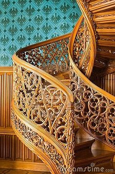 Old spiral stairs by Jkht, via Dreamstime. i didn't imagine this fancy, but … Old spiral stairs by Jkht, via Dreamstime. i didn't imagine this fancy, but its good enough. Escalier Art, Escalier Design, Art Nouveau, Grand Staircase, Staircase Design, Beautiful Architecture, Architecture Details, Stairs Architecture, Beautiful Stairs