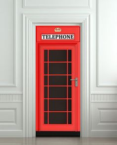 "Door wall sticker London Telephone Box self-adhesive poster, mural, decole, film 30x79"" (77x200 cm). $39.99, via Etsy."