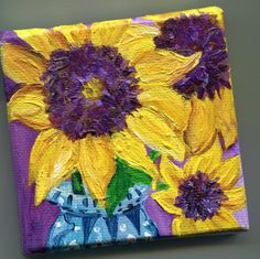 Sunflowers on Canvas with Easel, blue and white vase, Still Life, Original  mini painting