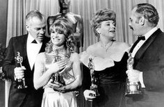 The top winners at the 38th Academy Awards: Lee Marvin (actor, Cat Ballou), Julie Christie (actress, Darling), Shelley Winters (supporting actress, A Patch of Blue) and Martin Balsam (supporting actor, A Thousand Clowns). April, 1966