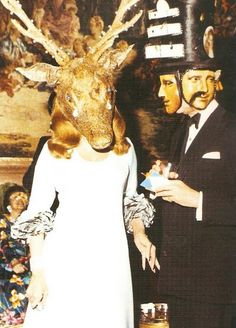 Baroness Marie Helene de Rothschild and Baron Alexis de Rede at her diner des testes surrealistes, 1972