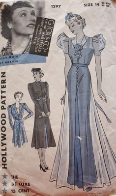 1930s Evening Dress Pattern Hollywood 1297 by BluetreeSewingStudio