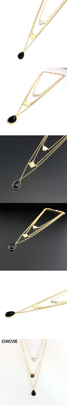 CHICVIE Women Vintage Triangle Black Stone Necklaces multilayer Necklace 2017 Colar Jewelry SNE160074