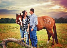 """Omg, my engagement photos will probably look very much like this. There will DEFINITELY be horses involved! """"Save the Date with horse / Engagement / Couples Photography. Engagement Couple, Engagement Shoots, Wedding Engagement, Pictures With Horses, Western Baby Pictures, Save The Date Photos, Before Wedding, Shooting Photo, Couple Photography"""