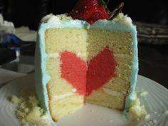 Hidden surprise heart cake!