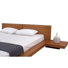 King Modern Japanese Style Platform Bed, Headboard/2 Nightstands, Oak