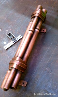 Forged bamboo door pull. Copper.