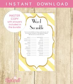 Yellow and White Baby Shower Word Scramble Game Printable Instant Download Yellow and Gold Baby Shower Word Scramble Game Boy 0061A-YWG by TppCardS #tppcards #printable #invitations