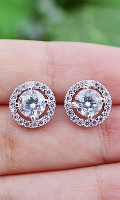 Cubic Zirconia Jewelry Cubic Zirconia Halo Style Ear studs from EarringsNation Bridal Accessories, Jewelry Accessories, Fashion Accessories, Bridal Earrings, Wedding Jewelry, Ear Studs, Earring Studs, Diamond Studs, Swagg