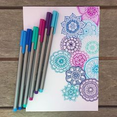 """Work in progress of mini mandala doodles by the talented Lauren Cork Show us how you doodle this weekend tagging Mandala Doodle, Mandala Art, Mandalas Painting, Mandalas Drawing, Easy Mandala, You Doodle, Doodle Art, Mandala Design, Dibujos Zentangle Art"