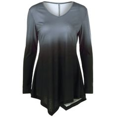 Ombre Asymmetrical Tee, COLORMIX, L in Long Sleeves | DressLily.com