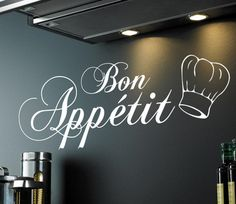 BON APPETIT (With chef hat) wall sticker quote - kitchen, cook, art - [WQ93][Black]