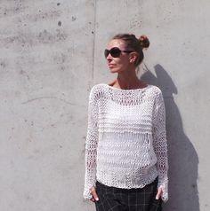 Lose weiße Pullover stricken Baumwolle Pullover in von ileaiye