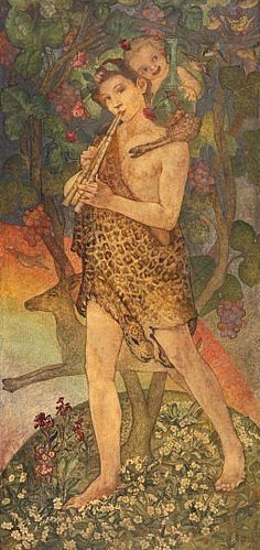 Pan Oil on panel, by Phoebe Anna Traquair, 1912, National Galleries of Scotland. Pan: god of flocks, shepherds, pastures, etc. He was from his birth perfectly developed, and had the same appearance as afterwards, that is, he had his horns, beard, puck nose, tail, goats' feet, and was covered with hair, so that his mother ran away with fear when she saw him; but Hermes carried him into Olympus, where all the gods were delighted with him, and especially Dionysus. He was brought up by nymphs…