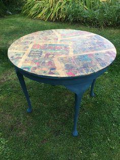 Decoupage Beano Round Oak Coffee Table Annie Sloan Aubusson Blue