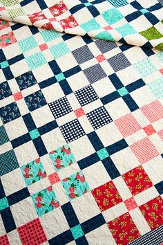 Tea Party quilt pattern by Vanessa Goertzen of Lella Boutique. Scrappy version uses a layer cake OR make the two-tone version with yardage. Fabric is Gooseberry by Vanessa Goertzen of Lella Boutique for Moda.