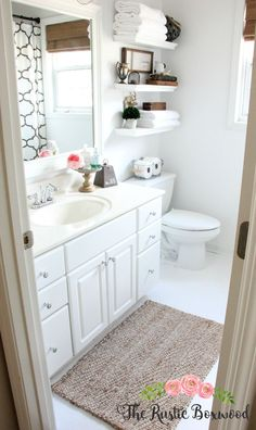 Guest Bathroom Makeover | The Rustic Boxwood | white, bathroom, home decor, decor, decorating, neutral, progress, makeover, transformation, before and after, room reveal, thrifty, vintage, antique, floating shelf, floating shelves, jute, seagrass, farmhouse style, farmhouse charm, farmhouse touches, farmhouse decor, vignette
