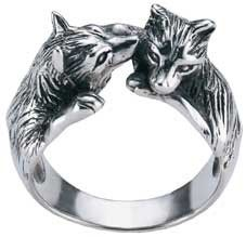 Sterling Silver Wolves Ring