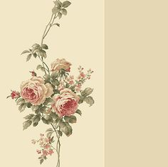 Wallpaper-Classic-Red-Rose-Trail-Tone-on-Tone-Beige-Stripe-Floral-Roses