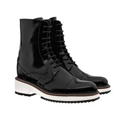 Elevator 5 inch boots - Upper in shiny black calfskin, insole and midsole in genuine leather, cotton waxed shoe laces. Hand Made in Italy. Elevator shoes, height increasing shoes, tall shoes,