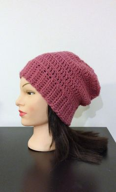 Pink Slouchy Beanie by TikosPlace on Etsy