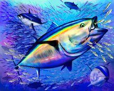 Original painting of bluefin tuna feeding on a school of sardines. #bluefintuna #tuna #fishingArt #sport-fishing-art