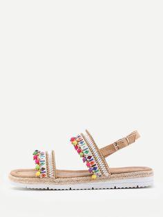 74b5ca9bbc8 Sandalias con adorno de pompones -Spanish SheIn(Sheinside) Flip Flop  Sandals