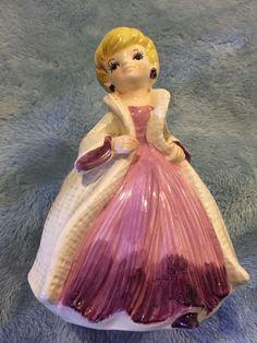 """Vintage Relpo Japan 5972 Glam Blonde Woman Purple Coat Dress Planter 6.25"""""""