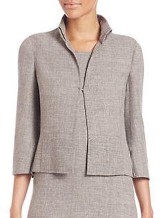 Akris - Carioca Linen & Wool Crepe Double-Face Jacket