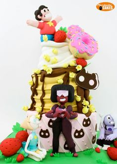 Steven universe cake Steven Universe Cookie Cat, 9th Birthday, Happy Birthday, Birthday Cake, Birthday Parties, Birthday Ideas, Amazing Cakes, Party Cartoon, Cartoon Cakes