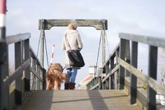 Leather and fur bag, My Deerest Shopper, girl and dog on a wooden bridge