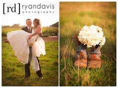 Bride and groom with cowboy boots on their country ranch wedding day.