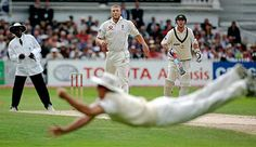 Andrew Strauss diving full length to catch Adam Gilchrist off the bowling of Andrew Flintoff in the fourth Ashes Test of 2005. England went on to win The Ashes.