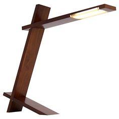 Lumisource Wood LED Plank Table Lamp-Walnut