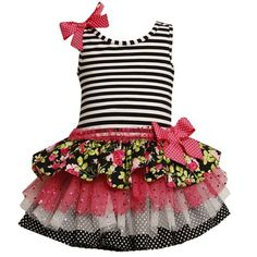 $49.00 Baby Beautiful FUCHSIA-PINK TIERED MIX PRINT DROP WAIST DRESS features sleeveless BLACK/WHITE STRIPED KNIT BODICE with round neckline and PINK/WHITE-DOTTED GROSGRAIN BOW TRIM on right shoulder. Knee-length DROP WAIST SKIRT features MULTI TIERED FLORAL, FOIL-DOT-MESH, and POLKA-DOT PRINTS with RUFFLED MESH TRIM & GROSGRAIN BOW ACCENT at the DROP WAIST. Comes with MATCHING/COORDINATING BLAC ...