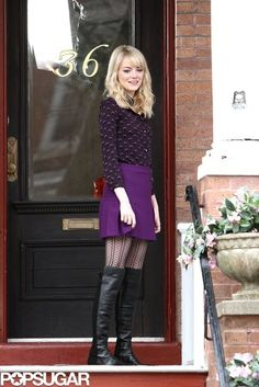 Emma Stone Takes Laugh Breaks on the Spider-Man Set: Emma Stone laughed on the NYC set of The Amazing Spider-Man 2.  : Emma Stone shot The Amazing Spider-Man 2.  : Emma Stone welcomed a young friend to the NYC set of The Amazing Spider-Man 2.  : Emma Stone wore a miniskirt on the NYC set of The Amazing Spider-Man 2.  : Emma Stone shot The Amazing Spider-Man 2 in NYC.