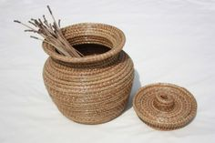 Basket Pine Needle Hand Made Decorative by FaithfullyCrafted, $95.00