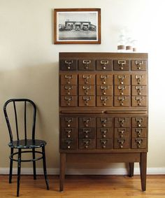 Vintage Card Catalog : 35 Drawer Wood Cabinet