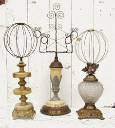 Wire on vintage lamp bases: hatstands, photo frames, jewelry displays. Hat Display, Craft Show Displays, Store Displays, Display Ideas, Booth Displays, Retail Displays, Creation Deco, Hat Stands, Jewelry Tree
