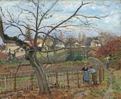 Camille Pissarro - The Fence [1872] Paysage à Louveciennes, la barrière Washington National Gallery of Art Collection of Mr. and Mrs. Paul Mellon catalogue raisonné no 231