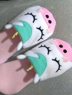 Felt slippers with appliqués and embroidery. Velcro fastener at side, cotton lining, and soft soles. Cute Slippers, Kids Slippers, Felted Slippers, 10 Year Old Gifts, Baby Sewing Projects, Cute Sandals, Baby Girl Shoes, Cute Outfits For Kids, Toddler Shoes