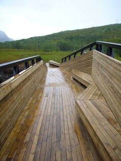 Lillefjord, footbridge and rest area, wooden furniture interior bridge