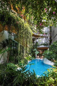 A curved swimming pool complements the curved balconies above. Amazing Architecture, Architecture Design, Green Architecture, Oasis, Bright Hallway, Bungalow Resorts, Large Curtains, Green Facade, Holiday Apartments