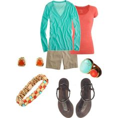 """:0) Love this classy look  """"Turquoise & Coral"""" by vintagesparkles78 on Polyvore"""