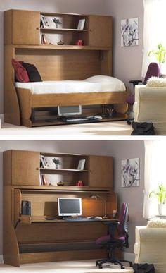Поднимите кровать и она превратиться в рабочий стол