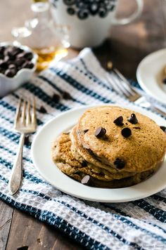 Tender and fluffy whole wheat chocolate chip pancakes guaranteed to make your Saturday mornings amazing.