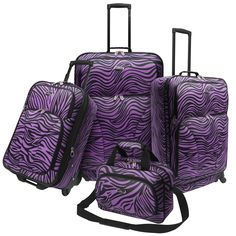 Travel in style with one of these practical four-piece gusseted spinner luggage sets in either a pink or purple zebra print. The 100-percent polyester fabric is durable, while the interior tie downs and ID panel afford you flexibility.